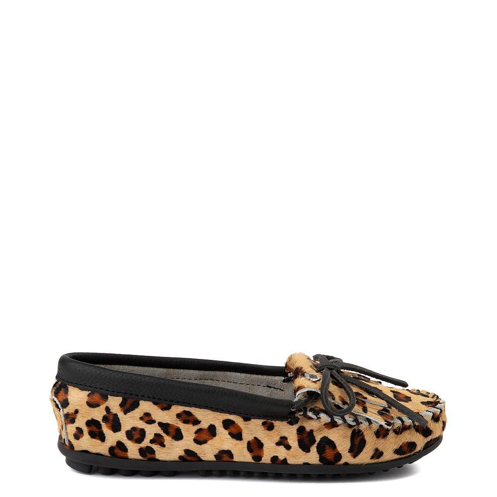 Womens Minnetonka Full Leopard Moccasin Slipper