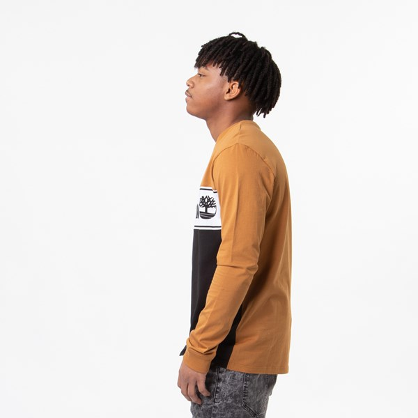 alternate view Mens Timberland Linear Logo Long Sleeve Tee - Black / WheatALT2