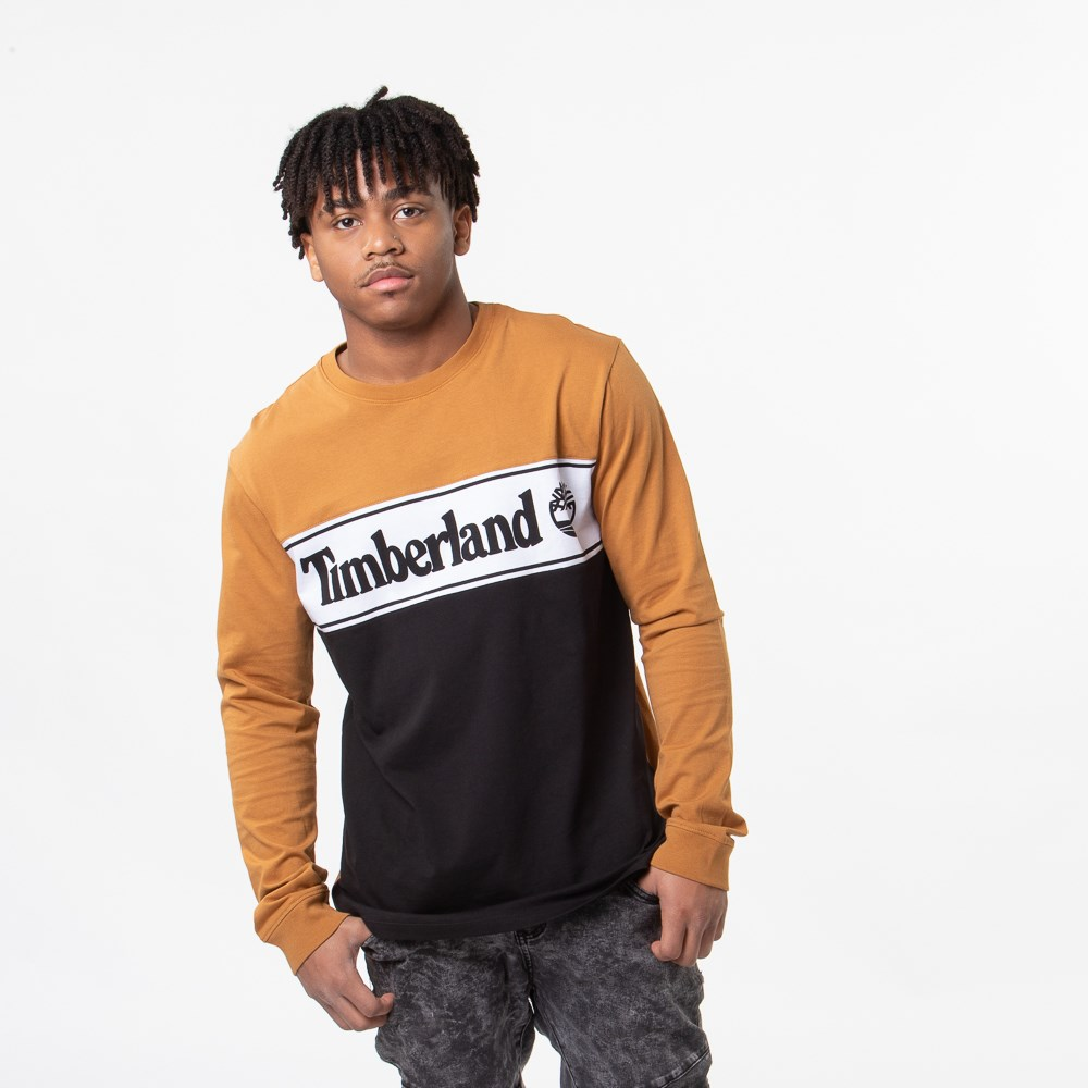 Mens Timberland Linear Logo Long Sleeve Tee - Black / Wheat
