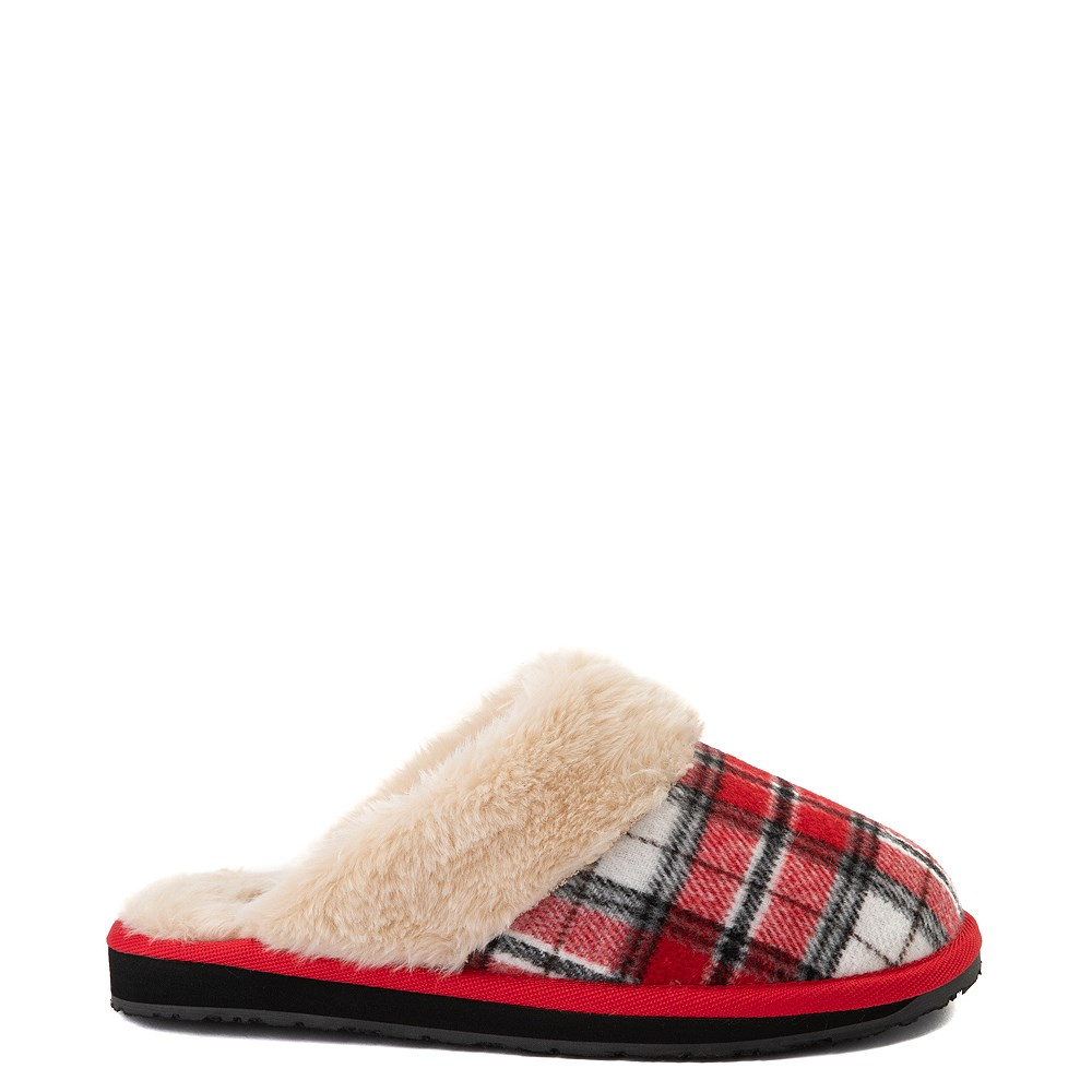 Womens Minnetonka Scuff Mule - Red / White