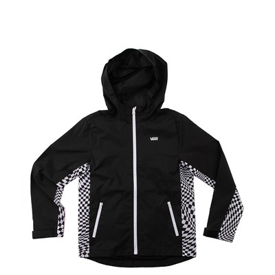 Main view of Vans Warp Check Windbreaker Hoodie - Little Kid / Big Kid - Black