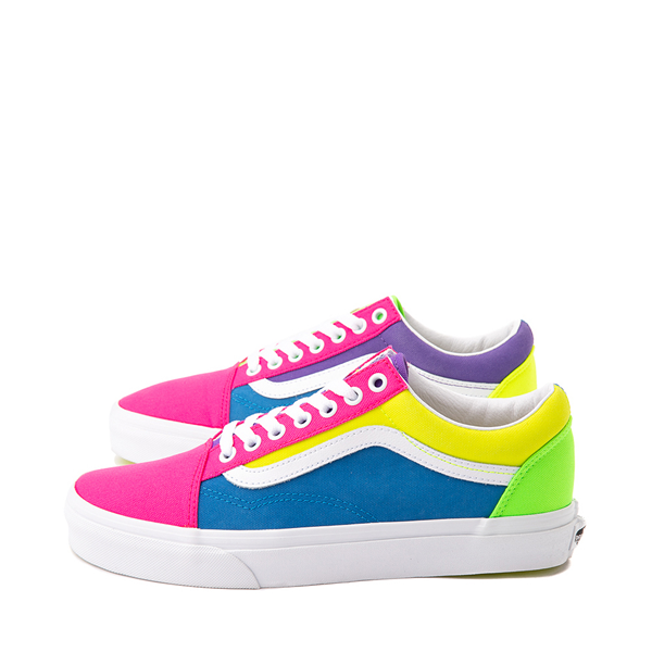 alternate view Vans Old Skool Neon Color-Block Skate Shoe - Pink / Purple / YellowALT1