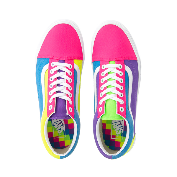alternate view Vans Old Skool Neon Color-Block Skate Shoe - Pink / Purple / YellowALT2