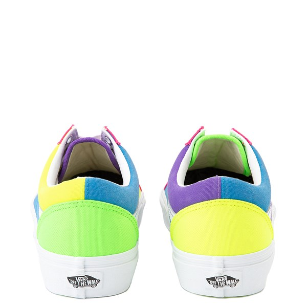 alternate view Vans Old Skool Neon Color-Block Skate Shoe - Pink / Purple / YellowALT6