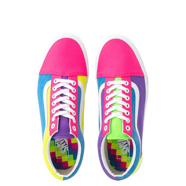 alternate view Vans Old Skool Neon Color-Block Skate Shoe - Pink / Purple / YellowALT7