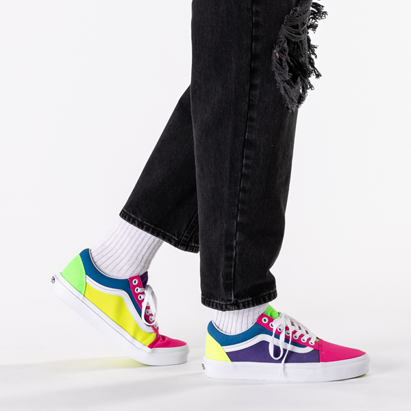 alternate view Vans Old Skool Neon Color-Block Skate Shoe - Pink / Purple / YellowB-LIFESTYLE1