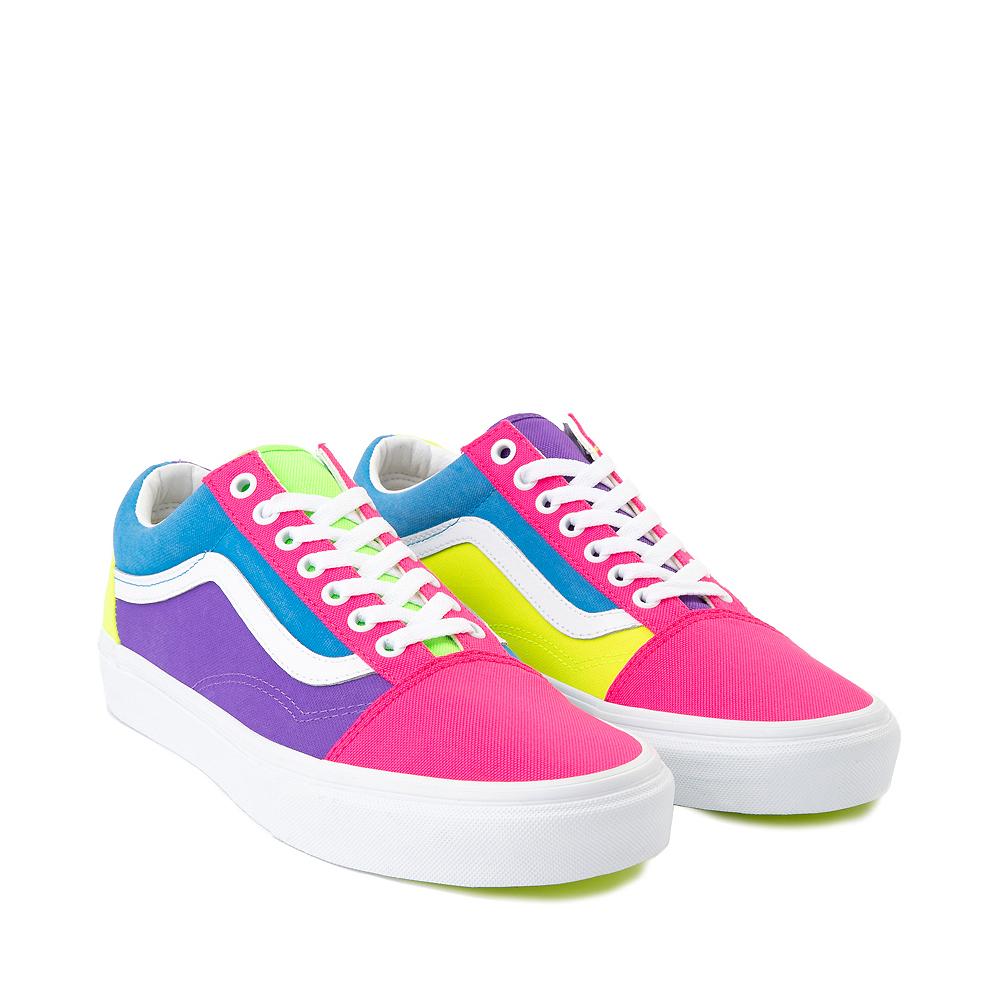 Vans Old Skool Neon Color-Block Skate Shoe - Pink / Purple / Yellow
