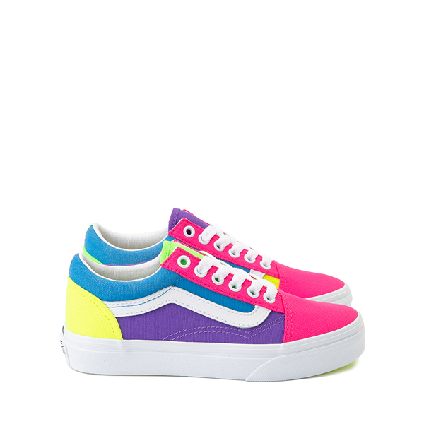 Main view of Vans Old Skool Neon Color-Block Skate Shoe - Little Kid - Pink / Purple / Yellow