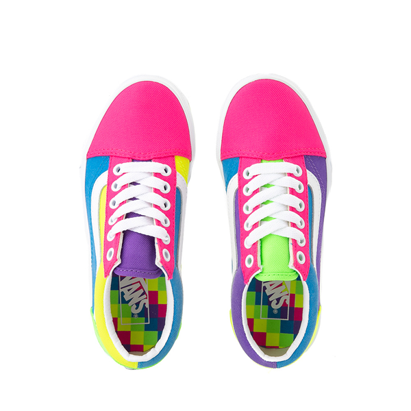 alternate view Vans Old Skool Neon Color-Block Skate Shoe - Little Kid - Pink / Purple / YellowALT2