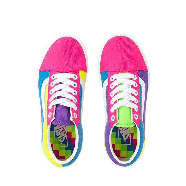 alternate view Vans Old Skool Neon Color-Block Skate Shoe - Little Kid - Pink / Purple / YellowALT2