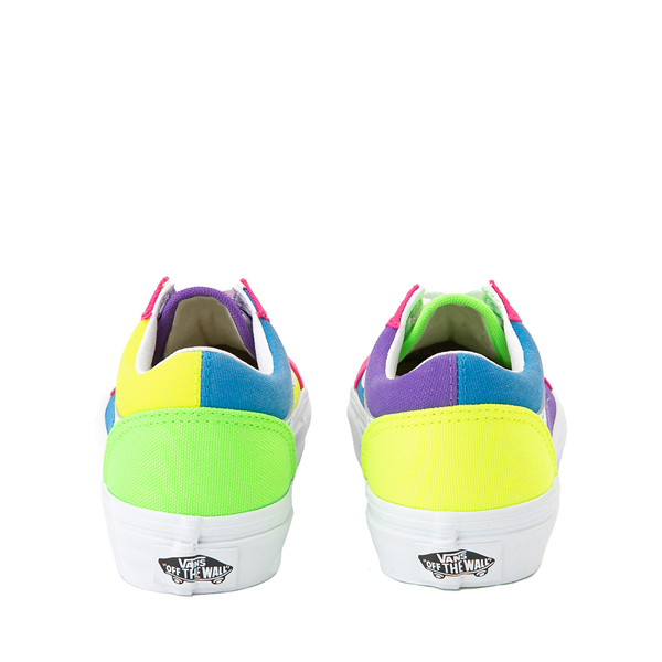 alternate view Vans Old Skool Neon Color-Block Skate Shoe - Little Kid - Pink / Purple / YellowALT4