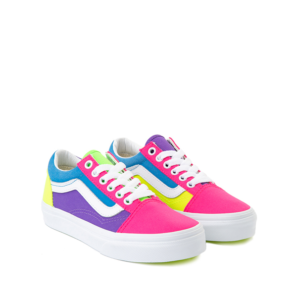 alternate view Vans Old Skool Neon Color-Block Skate Shoe - Little Kid - Pink / Purple / YellowALT5