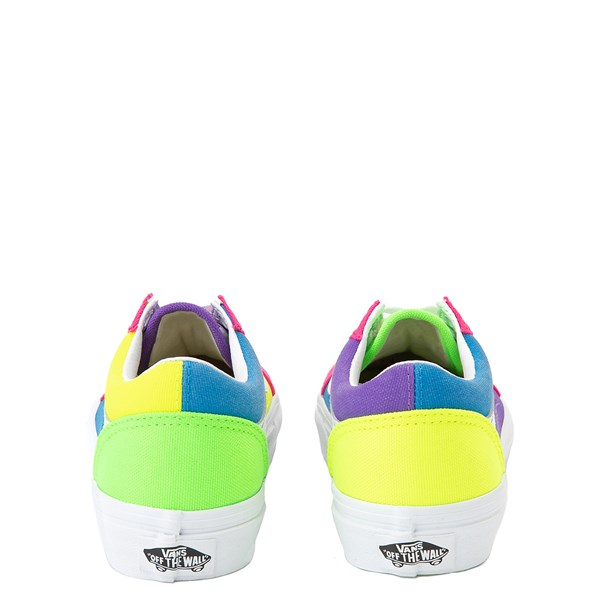 alternate view Vans Old Skool Neon Color-Block Skate Shoe - Little Kid - Pink / Purple / YellowALT6
