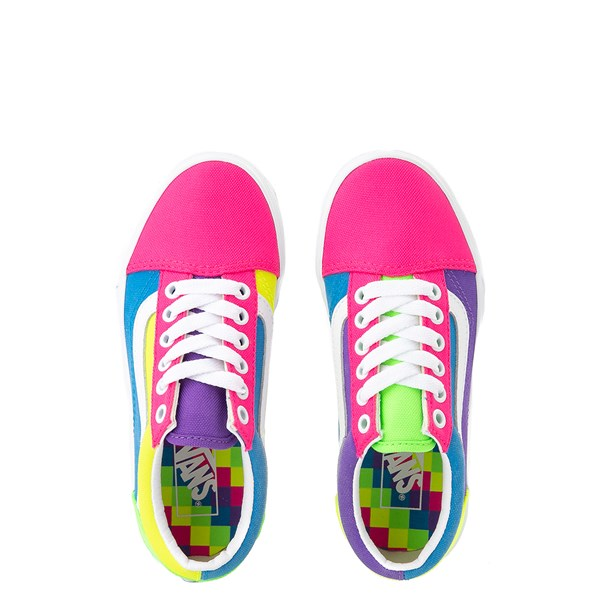 alternate view Vans Old Skool Neon Color-Block Skate Shoe - Little Kid - Pink / Purple / YellowALT7