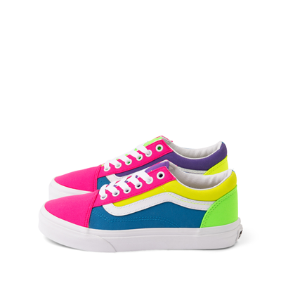 Alternate view of Vans Old Skool Neon Color-Block Skate Shoe - Little Kid - Pink / Purple / Yellow