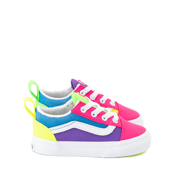 Main view of Vans Old Skool Neon Color-Block Skate Shoe - Baby / Toddler - Pink / Purple / Yellow