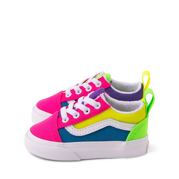 alternate view Vans Old Skool Neon Color-Block Skate Shoe - Baby / Toddler - Pink / Purple / YellowALT1