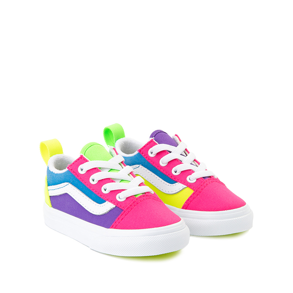 alternate view Vans Old Skool Neon Color-Block Skate Shoe - Baby / Toddler - Pink / Purple / YellowALT5