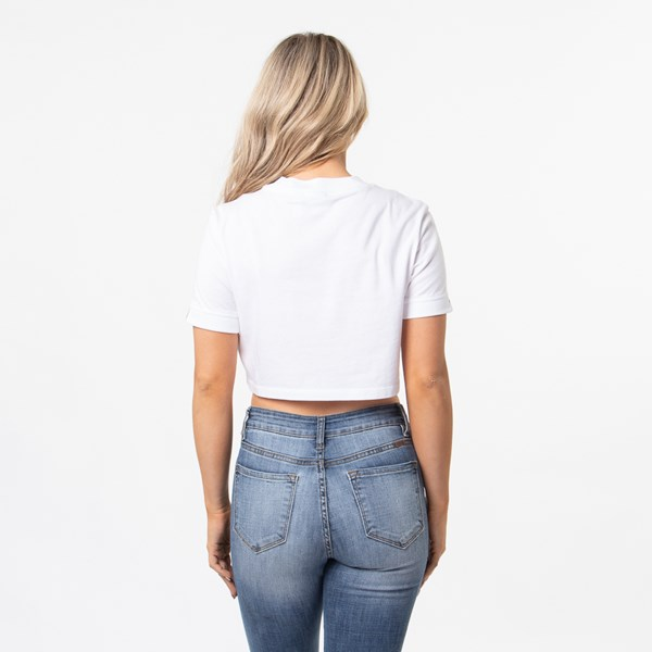 alternate view Womens adidas Double Logo Cropped Tee - WhiteALT1