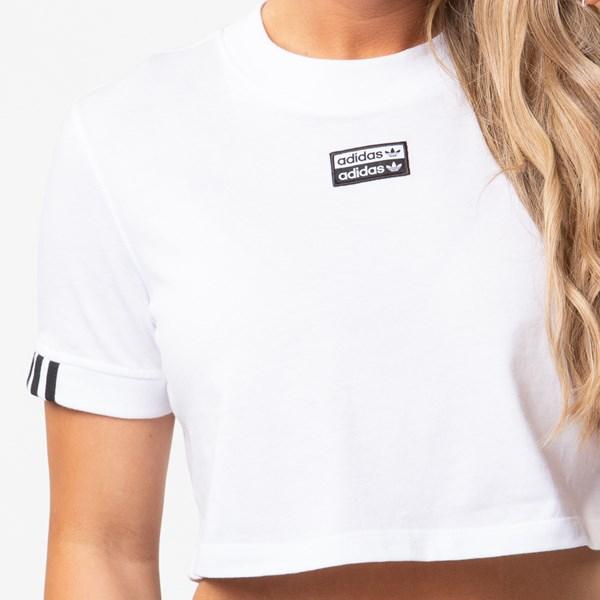 alternate view Womens adidas Double Logo Cropped Tee - WhiteALT1B