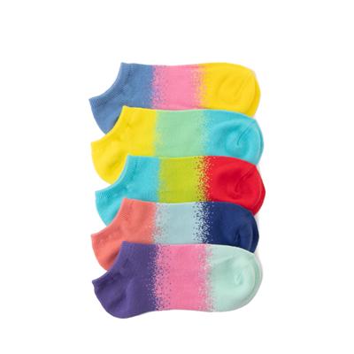 Main view of Womens Tri-Block Quarter Socks 5 Pack - Multi