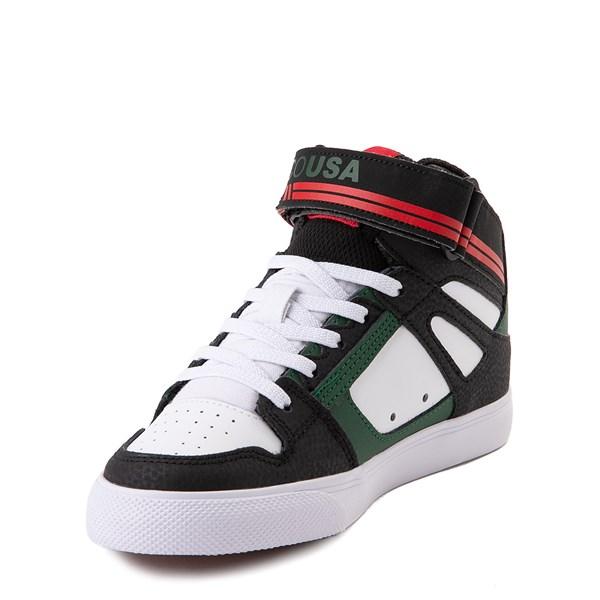 alternate view DC Pure Hi EV Skate Shoe - Little Kid / Big Kid - Black / White / GreenALT3
