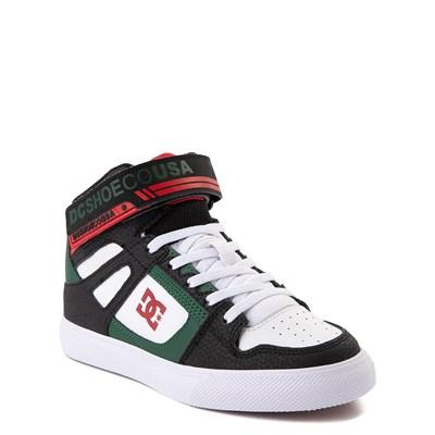 Alternate view of DC Pure Hi EV Skate Shoe - Little Kid / Big Kid - Black / White / Green