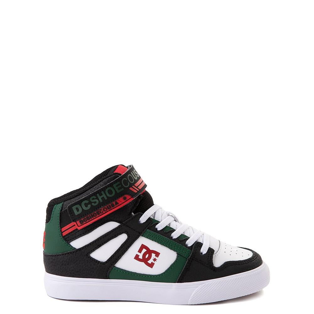 DC Pure Hi EV Skate Shoe - Little Kid / Big Kid - Black / White / Green