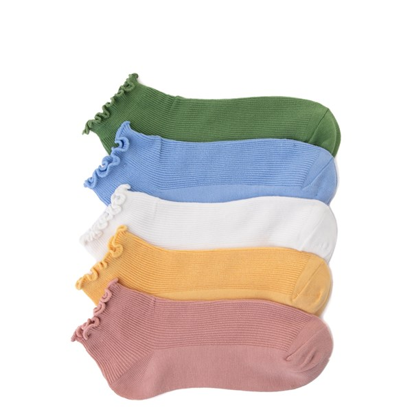 Womens Curly Anklet Socks 5 Pack - Multicolor