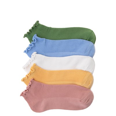 Main view of Womens Curly Anklet Socks 5 Pack - Multi