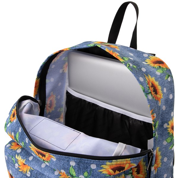 alternate view JanSport Superbreak Sunflower Backpack - BlueALT3