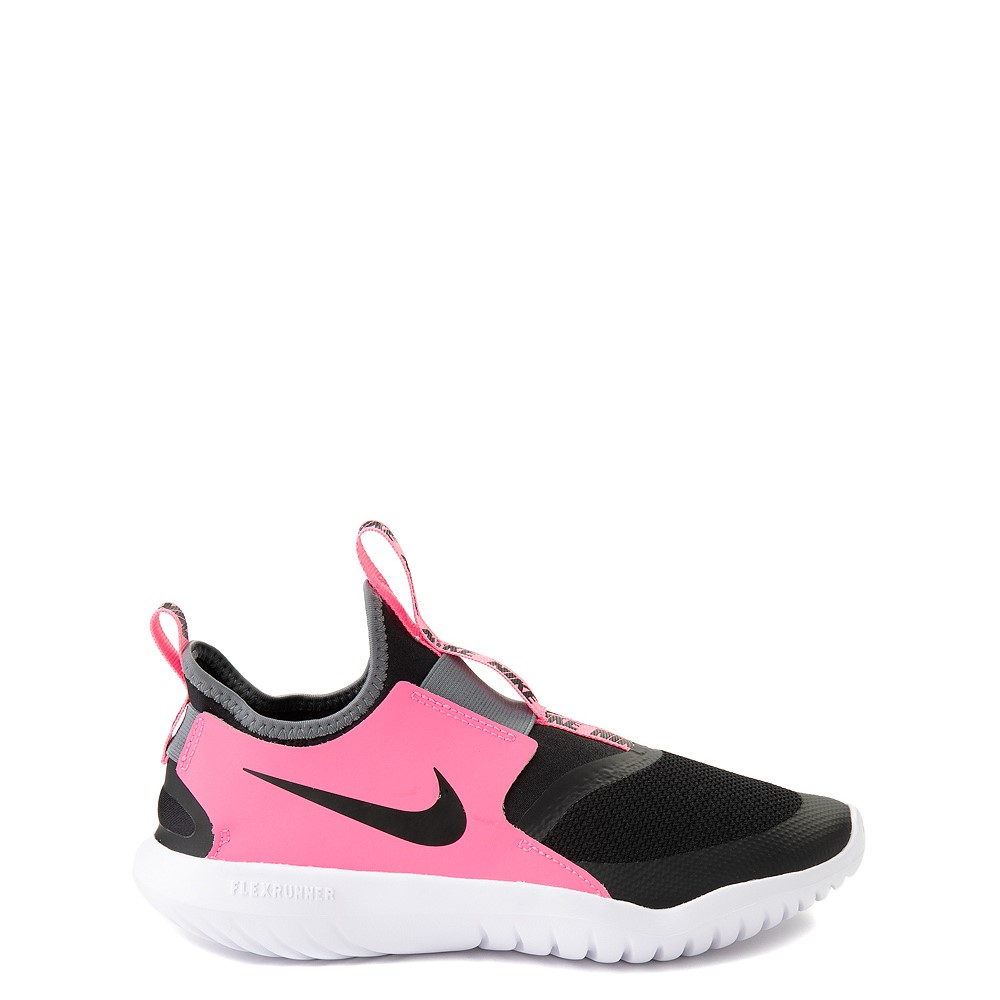 Nike Flex Runner Slip On Athletic Shoe - Big Kid - Pink / Black