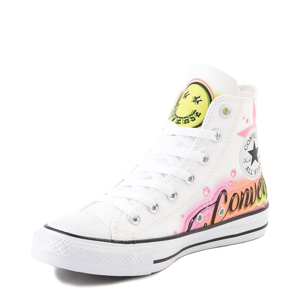 alternate view Converse Chuck Taylor All Star Hi Airbrush Sneaker - White / NeonALT2
