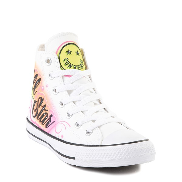 alternate view Converse Chuck Taylor All Star Hi Airbrush Sneaker - White / NeonALT5