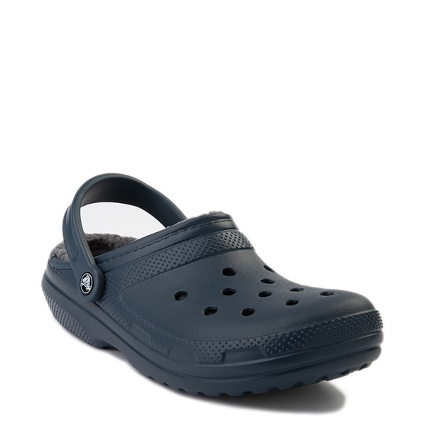 alternate view Crocs Classic Fuzz-Lined Clog - Navy / GrayALT1