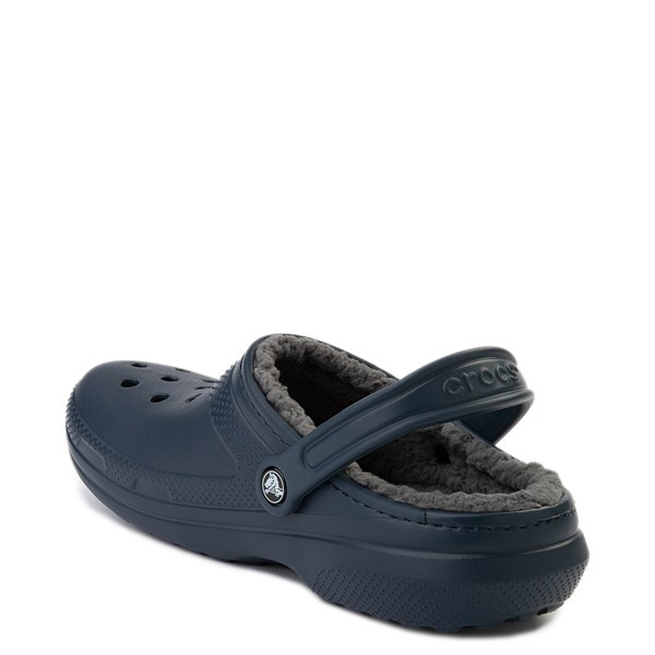 alternate view Crocs Classic Fuzz-Lined Clog - Navy / GrayALT2