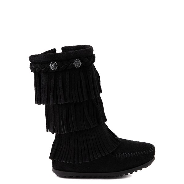Main view of Minnetonka 3-Layer Fringe Boot - Toddler / Little Kid - Black