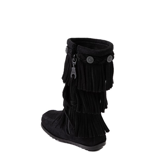 alternate view Minnetonka 3-Layer Fringe Boot - Toddler / Little Kid - BlackALT1