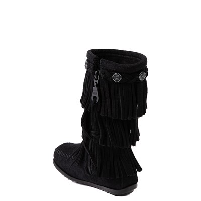 Alternate view of Minnetonka 3-Layer Fringe Boot - Toddler / Little Kid - Black