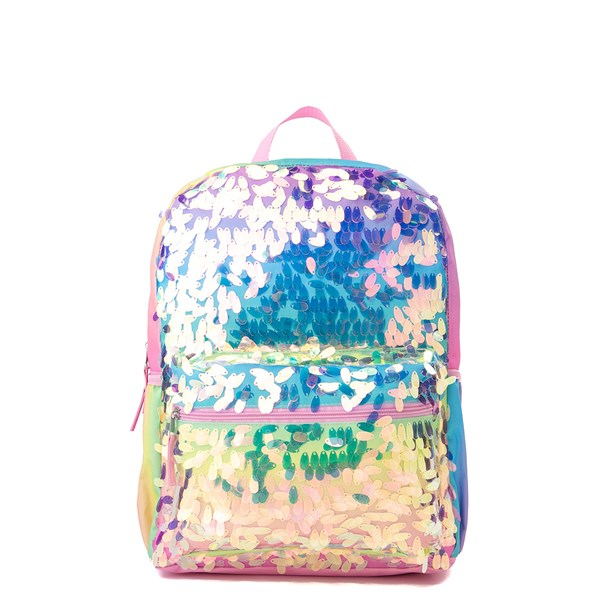 Main view of Iridescent Gradient Sequin Backpack - Rainbow