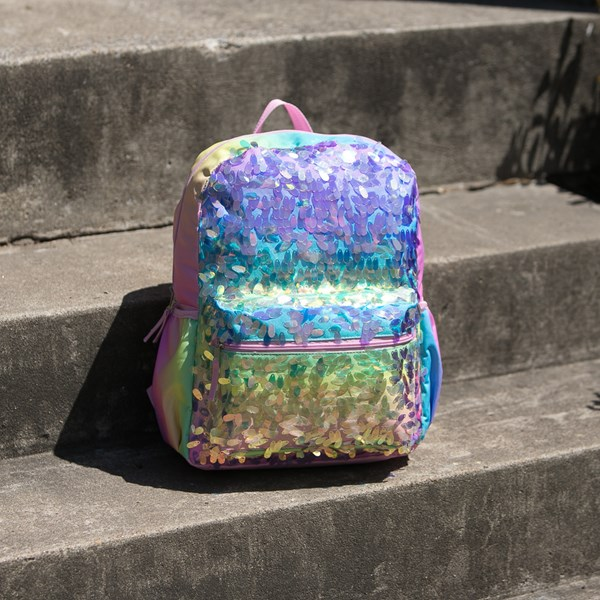 alternate view Iridescent Gradient Sequin Backpack - RainbowALT1BB