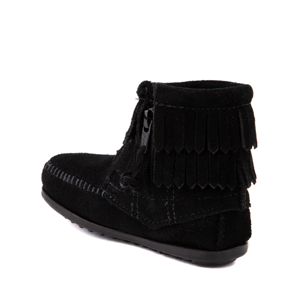 alternate view Minnetonka Double Fringe Bootie - Little Kid / Big Kid - BlackALT1