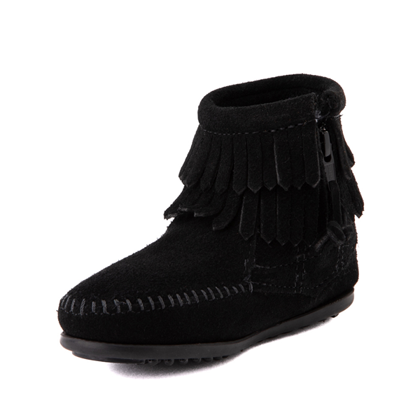 alternate view Minnetonka Double Fringe Bootie - Little Kid / Big Kid - BlackALT2