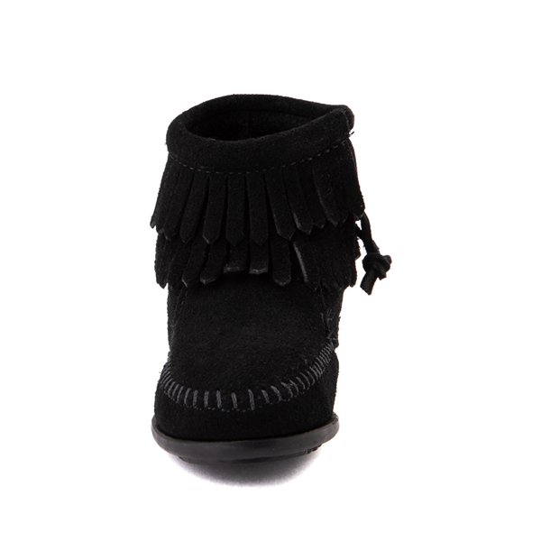 alternate view Minnetonka Double Fringe Bootie - Little Kid / Big Kid - BlackALT4