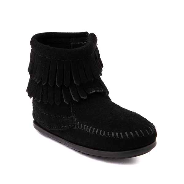 alternate view Minnetonka Double Fringe Bootie - Little Kid / Big Kid - BlackALT5