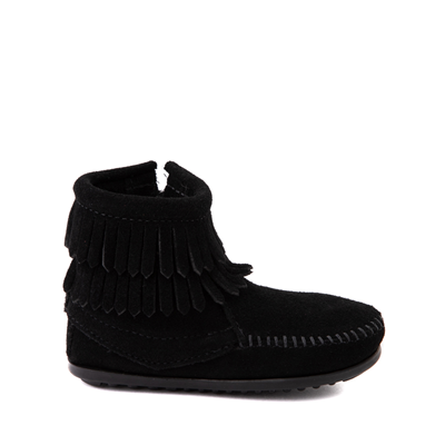 Main view of Minnetonka Double Fringe Bootie - Little Kid / Big Kid - Black