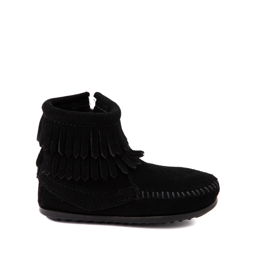Minnetonka Double Fringe Bootie - Little Kid / Big Kid - Black