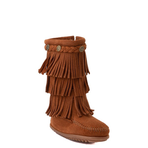alternate view Minnetonka 3-Layer Fringe Boot - Little Kid / Big Kid - BrownALT1