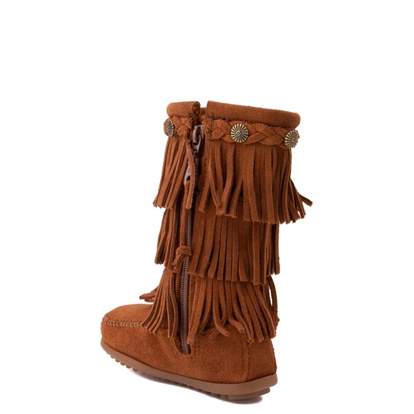 alternate view Minnetonka 3-Layer Fringe Boot - Little Kid / Big Kid - BrownALT2