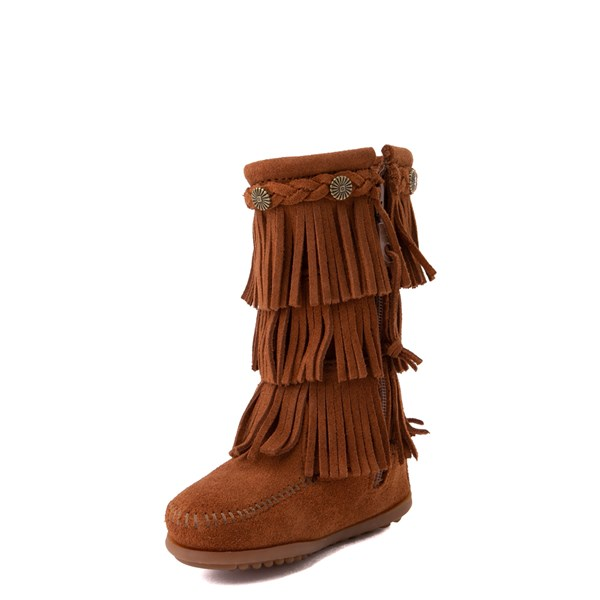 alternate view Minnetonka 3-Layer Fringe Boot - Little Kid / Big Kid - BrownALT3